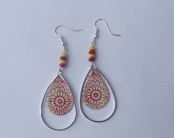 Silver large hook earrings with flat beads, 1 sequin enamel drop red/white geometric pattern with drop silver