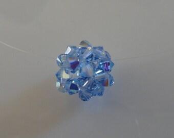 Blue light Sapphire Swarovski Crystal beaded Ball pendant
