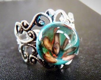 Little blue flower Lampwork Glass ring