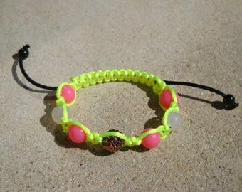 Shamballa bracelet neon yellow and pink, 7 beads, Rhinestones, child, girl