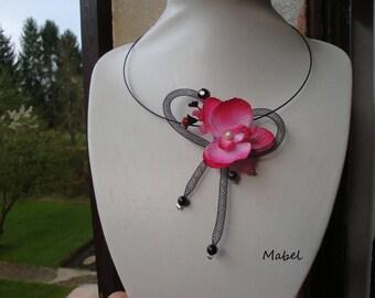 Fuchsia, Orchid, Black mesh, pearls, Wedding Flower necklace