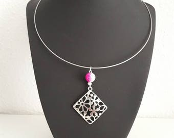 Necklace fuchsia and silver square