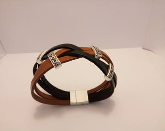 Blue and Brown braided leather bracelet