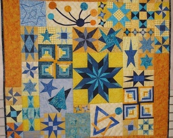 Painting contemporary wall stars in yellow and blue