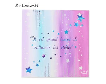 MY little PHRASE 3 40 * 40 painting on canvas, Acrylic paint, purple, turquoise, white, silver theme 1 stars quote