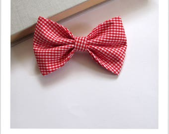 Bow tie and clip hair 2 in 1 red and white gingham