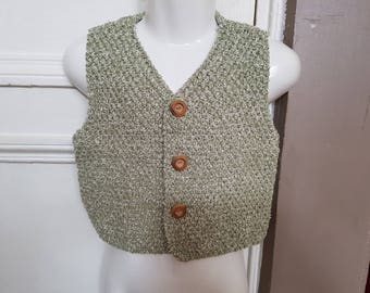 Hand knitted vest sleeveless t 4t
