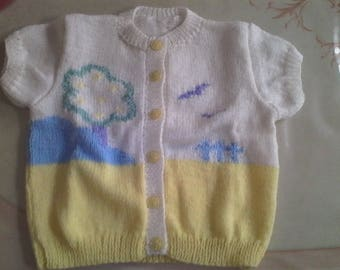 Cardigan girl short sleeves t. 18 months hand-knitted