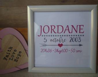 Personalised frame with artwork birth gift, baptism, birthday, anniversary...