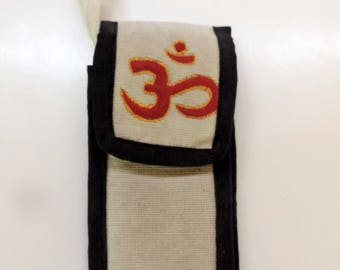 Phone pocket or glasses case embroidered with OM hemp