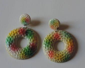 Eighties, psychedelic trendy earrings