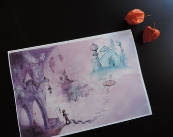 """Reproduction of an illustration - A4 size - """"The imaginary world of Martin"""""""