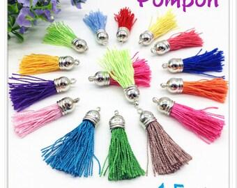 Silk thread tassel pendant unit pink Pastel silver 4.5 cm