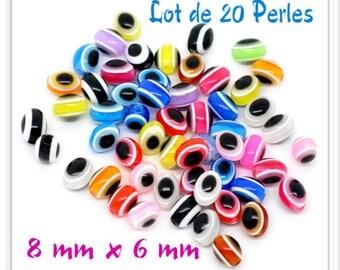 Set of 20 beads 8 mm x 6 mm multicolor eye effect resin