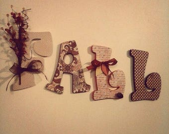 Wooden Floral Letters - FALL Letter set