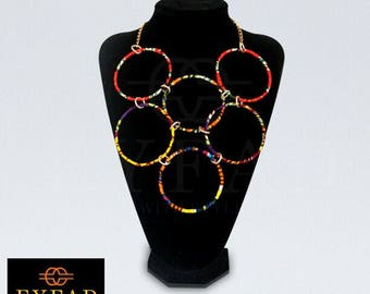 Multi-coloured fashion Bead Necklaces, bracelets and Earring set for women. Ladies luxurious multi-layer colourful knitted resin seed beads.