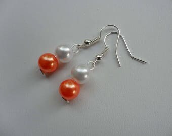 Wedding Pearl Earrings white and orange jewels ceremony