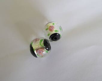 1 set of 2 Italian style 18 mm lampwork beads