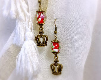 Red glass earring