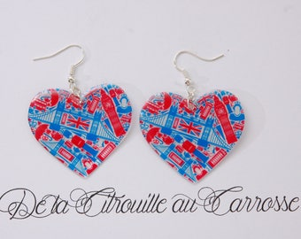London blue and Red Heart Earrings