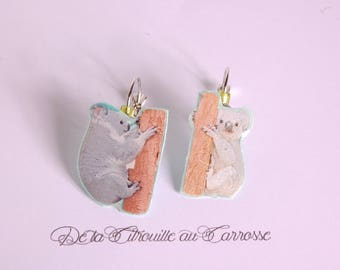 Koala on a branch earrings
