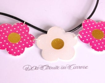 Flowers polka dots, fuchsia and white bib necklace
