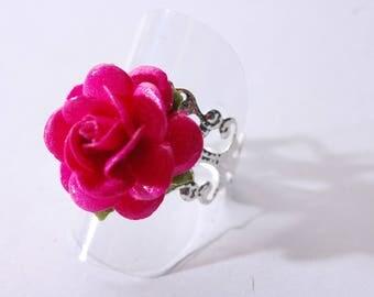 Fuchsia, adjustable, silver filigree flower ring
