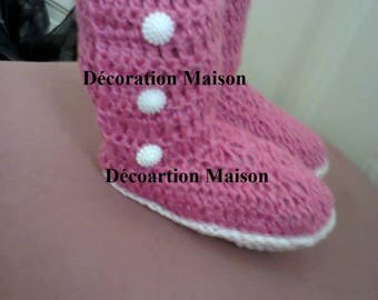 Pink and white crochet baby boots