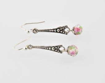 Vintage Silver earrings and Crystal