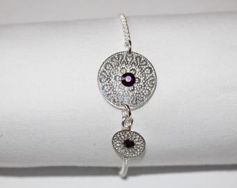 round filigree prints & fine silver chain bracelet