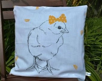 Cover cushion 40 x 40 chick bow yellow