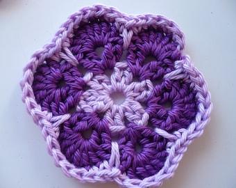 Purple and mauve cotton crochet flower