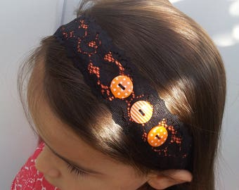 """WOMAN """"Ombre coral"""" lace elastic headband, buttons"""