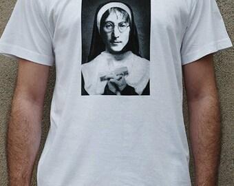 White T-shirt 100% cotton screen print John