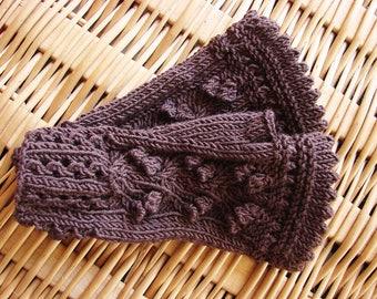 """Brown fingerless gloves """"Eireen"""" french Merino-"""