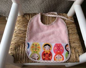 Pink Russian doll for the girl bib