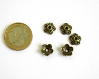 5 bronze flower bead caps, 10 x 4 mm