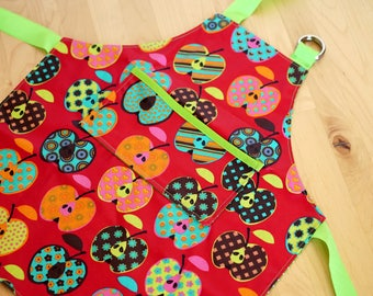 Pattern, apron for children, red and Green apples