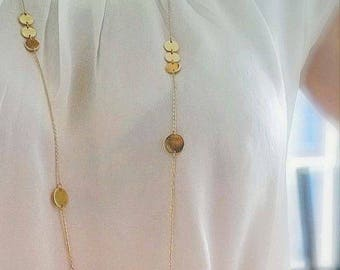 Elegance - gold long necklace with coins