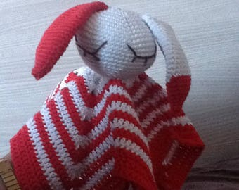 Red and white crochet Bunny blanket