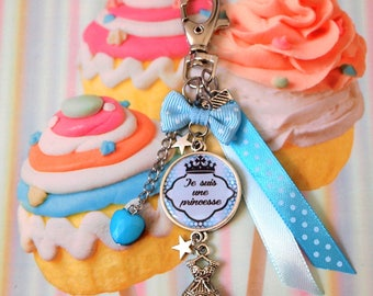 "Princess keychain ""I'm a Princess"" cabochon princess dress charm bag charm keychain"