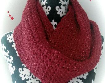 Crochet handmade glittery Burgundy Choker.