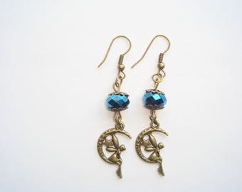 Fairy on Moon Blue Pearl pendant earrings