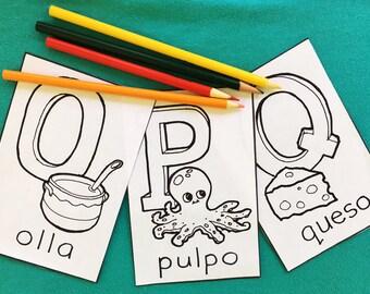 Alfabeto Español de la fiesta de bienvenida al bebé Alfombrillas 0-Z ABC Spanish Hispanic Baby Shower Coloring Book Kids 4x6 in Kindergarten
