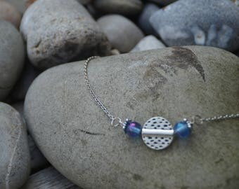 Blue and silver beads and silver chain necklace