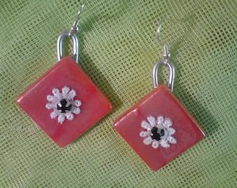 Coral. Molten glass, white cotton flower, rhinestone earrings