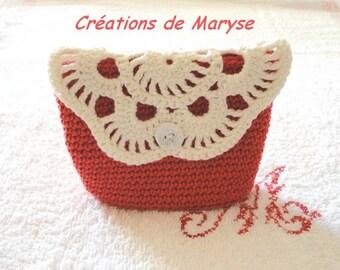 Wool coin purse, mini pouch bag, crochet Kit