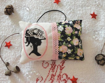 Door hanging cushion romantic retro on canvas, pink and black woman's face, cross stitch embroidery embroidery