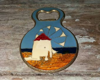 Vintage Greek Brass Enameled Bottle Opener With Windmill Design, Gift, Collectible, Decorative,Bar ware