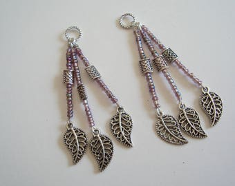 lotx2 dangling broloques mounted on purple seed beads and Tibetan metal beads